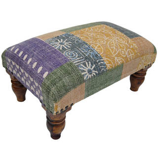 Herat Oriental Indo Handmade Printed-Cotton Upholstered Wooden Stool