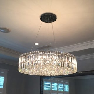 """Contemporary 18 Light Chrome Finish and Faceted Clear Crystal Large Chandelier 32"""" Round"""