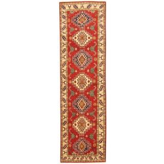 Herat Oriental Afghan Hand-knotted Tribal Kazak Red/ Ivory Wool Runner (2'8 x 9'5)
