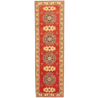 Herat Oriental Afghan Hand-knotted Tribal Kazak Red/ Ivory Wool Runner (3' x 10')