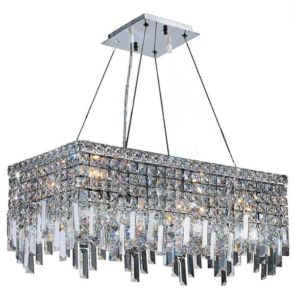 "Contemporary 6 Light Chrome Finish and Clear Crystal Icicles Chandelier Large 24"" L x 12"" Rectangle"