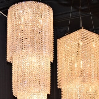 """Spectacular 18 Light Chrome Finish Cascading Crystal String Chandelier Three 3 Tier 16"""" Round x 63"""" Long"""