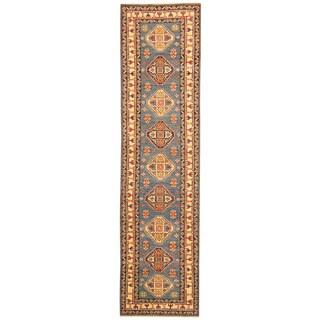 Herat Oriental Afghan Hand-knotted Tribal Kazak Blue/ Ivory Wool Runner (2'8 x 10'6)