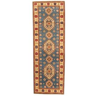 Herat Oriental Afghan Hand-knotted Tribal Kazak Blue/ Ivory Wool Runner (2'9 x 7'10)