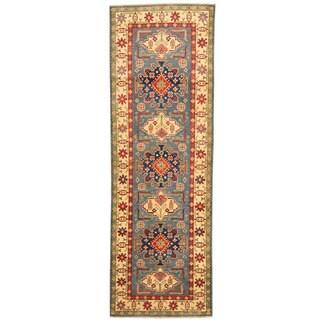 Herat Oriental Afghan Hand-knotted Tribal Kazak Blue/ Ivory Wool Runner (2'9 x 8'2)