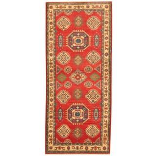 Herat Oriental Afghan Hand-knotted Tribal Kazak Red/ Ivory Wool Runner (2'9 x 6'6)