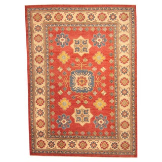 Herat Oriental Afghan Hand-knotted Tribal Kazak Red/ Ivory Wool Rug (9'2 x 13')