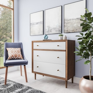 Baxton Studio Harlow Mid-century Modern Scandinavian Style White and Walnut Wood 3-drawer Chest