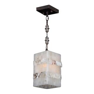 """Natural Quartz 1 Light Flemish Brass Finish 6"""" Contemporary Square Mini Pendant"""