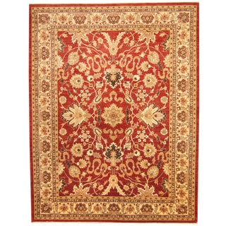Herat Oriental Afghan Hand-knotted Vegetable Dye Oushak Red/ Ivory Wool Rug (9'2 x 11'10)