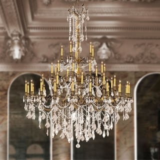 "Italian Elegance 45 Light Antique Bronze Finish and Golden Teak Crystal Traditional Chandelier Large Three 3 Tier 54"" x 66"""