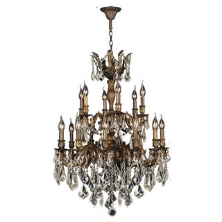 """French Imperial 18 Light Antique Bronze Finishand Golden Teak Crystal Traditional Chandelier Large Two 2 Tier 27"""" x 38"""""""