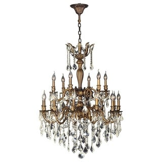 """French Imperial 18 Light Antique Bronze Finish and Golden Teak Crystal Traditional Chandelier Large Two 2 Tier 30"""" x 39"""""""