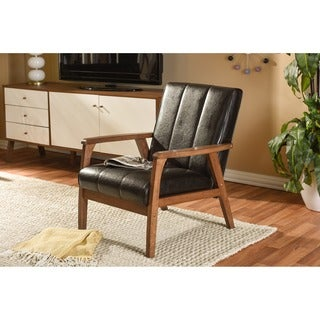Baxton Studio Nikko Mid-century Modern Scandinavian Style Dark Brown Faux Leather Wooden Lounge Chair