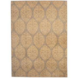 Herat Oriental Afghan Hand-knotted Vegetable Dye Ikat Gray/ Gold Wool Rug (9'2 x 12'5)