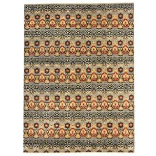 Herat Oriental Afghan Hand-knotted Vegetable Dye Ikat Blue/ Rust Wool Rug (9' x 12'1)