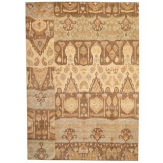 Herat Oriental Afghan Hand-knotted Vegetable Dye Ikat Ivory/ Blue Wool Rug (9' x 12'1)