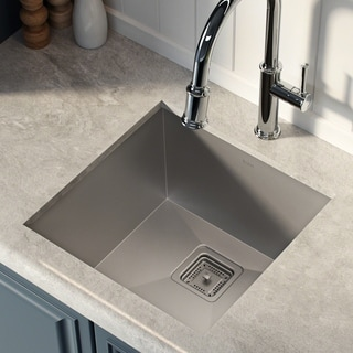 Kraus Pax Zero-Radius 18 1/2 Inch 18 Gauge Handmade Undermount Single Bowl Stainless Steel Bar/Prep Sink