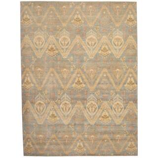 Herat Oriental Afghan Hand-knotted Vegetable Dye Ikat Blue/ Ivory Wool Rug (9' x 12'1)