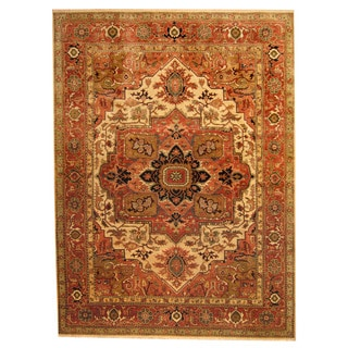 Herat Oriental Indo Hand-knotted Tribal Heriz Ivory/ Rust Wool Rug (9' x 12')