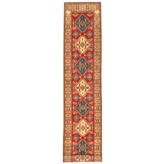 Herat Oriental Afghan Hand-knotted Tribal Kazak Red/ Ivory Wool Rug (2'6 x 14')