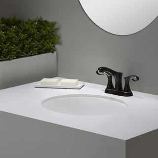 Kraus Elavo White Ceramic Large Oval Undermount Bathroom Sink w/ Overflow