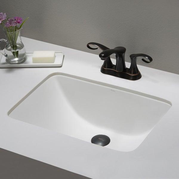 Kraus Elavo White Ceramic Small Rectangular Undermount Bathroom Sink w ...