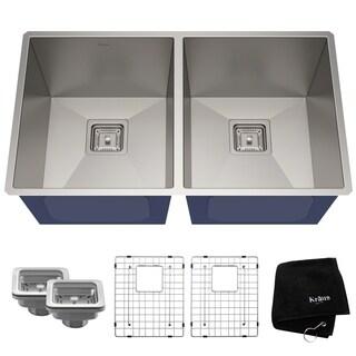 Kraus Pax Zero-Radius 31 1/2 Inch 16 Gauge Handmade Undermount 50/50 Double Bowl Stainless Steel Kitchen Sink