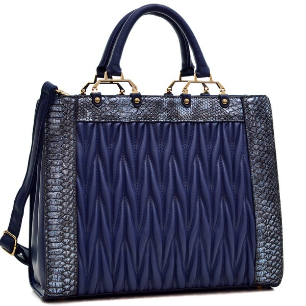 Dasein Textured Faux Leather with Croco Metallic Trim Tote