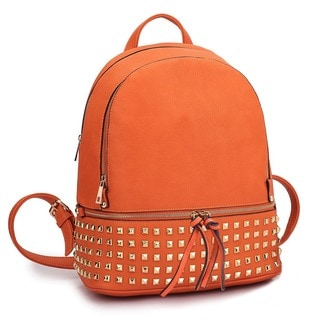 Dasein Buffalo Leather Studded Backpack with Bottom Zipper Compartment