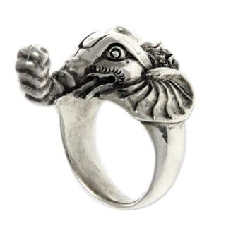 Men's Sterling Silver 'Wise Ganesha' Garnet Ring (Indonesia)