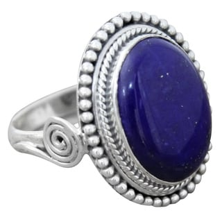 Sterling Silver 'Royal Blue Glow' Lapis Lazuli Ring (India)