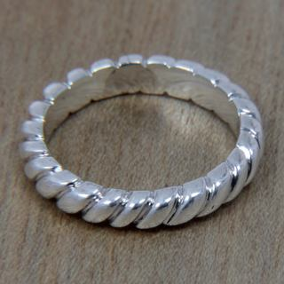 Handcrafted Sterling Silver 'Halo Rope' Ring (Indonesia)