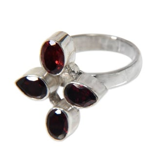 Handcrafted Sterling Silver 'Blossom of Fire' Garnet Ring (Indonesia)