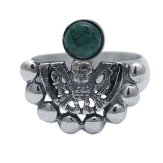 Handcrafted Sterling Silver 'Iridescence' Chrysocolla Ring (Peru)