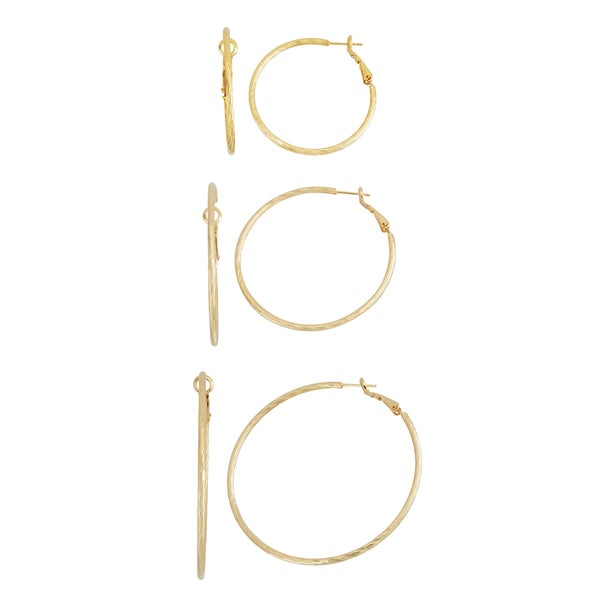 Isla Simone- GOLD THIN KNIFE CUT HOOP - 40MM/50MM/60MM