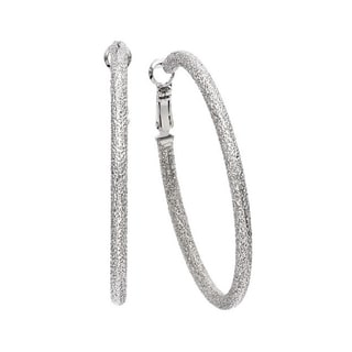 Isla Simone - Rhodium Plated Textured Round Earring