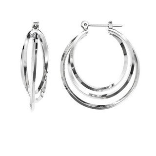 Isla Simone - Rhodium Plated Polished Three Interlaced Hoop Earring