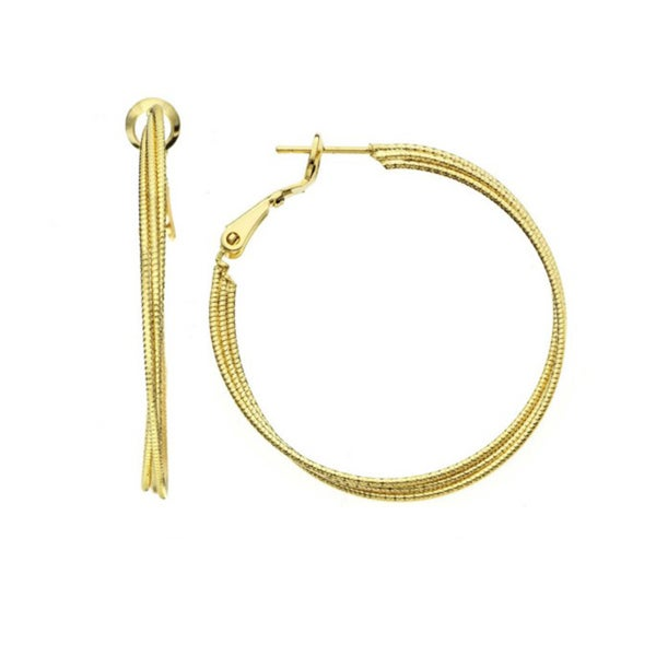 Isla Simone - Tripple Strand 0.8mm X 40 Diamond Cut Hoop Earring