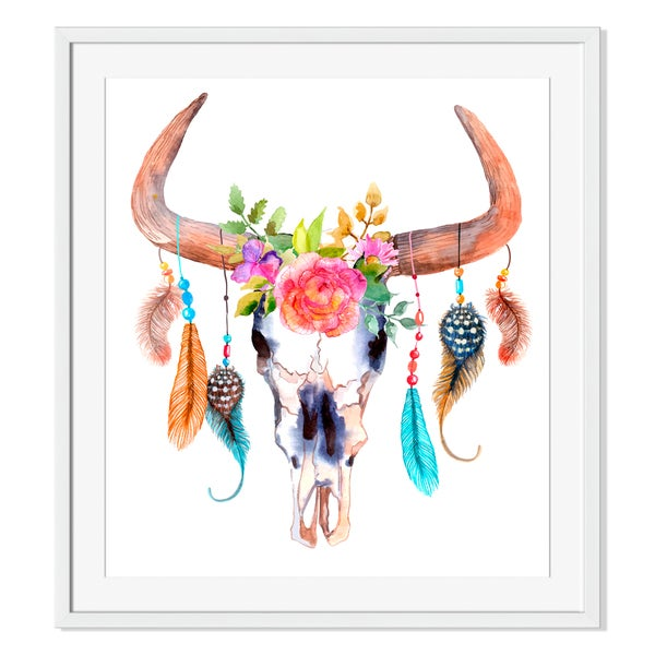 Watercolor bull skull with flowers and feathers Print on Paper Framed Print