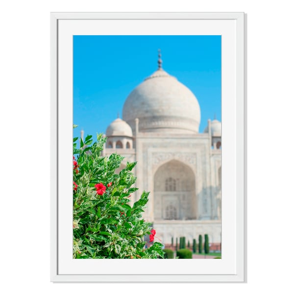 Taj Mahal in Agra, India Print on Paper Framed Print