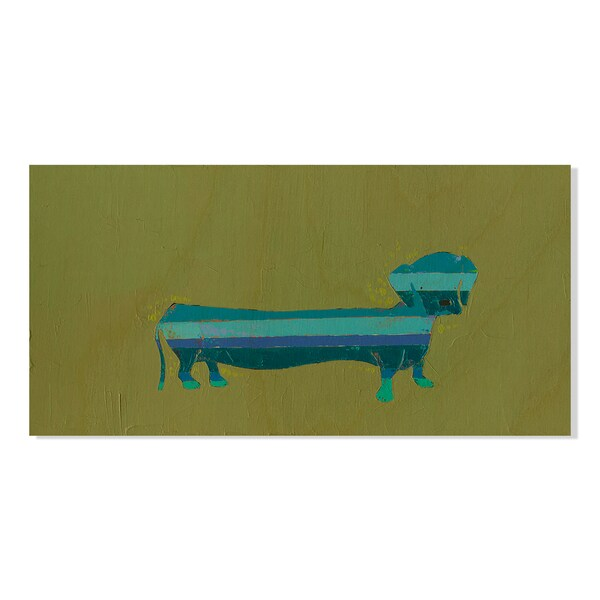 Blue Dachshund Print by Trevor Mikula on Birchwood Wall Art