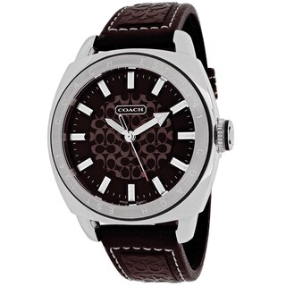Coach Men's 14600962 Classic Round Brown Leather Strap Watch