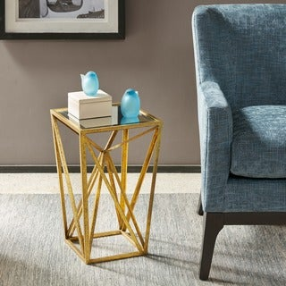 Madison Park Maxx Gold Angular Mirror Top Drum Table