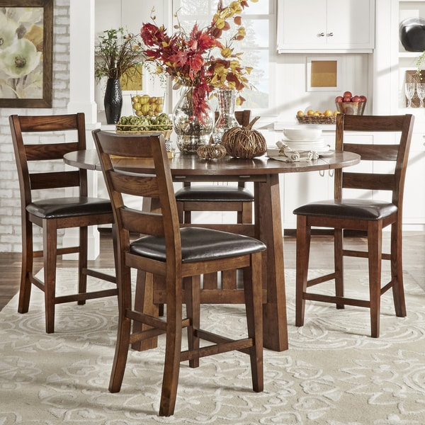 Bartol Warm Brown Mission Extending Counter-height Table and Chair Dining Set with Revolving Server