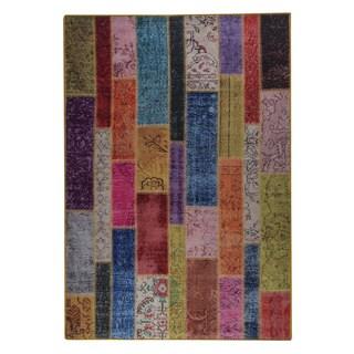 Indian Hand-printed Adana Multicolor Vintage Print Rug (2'x3')