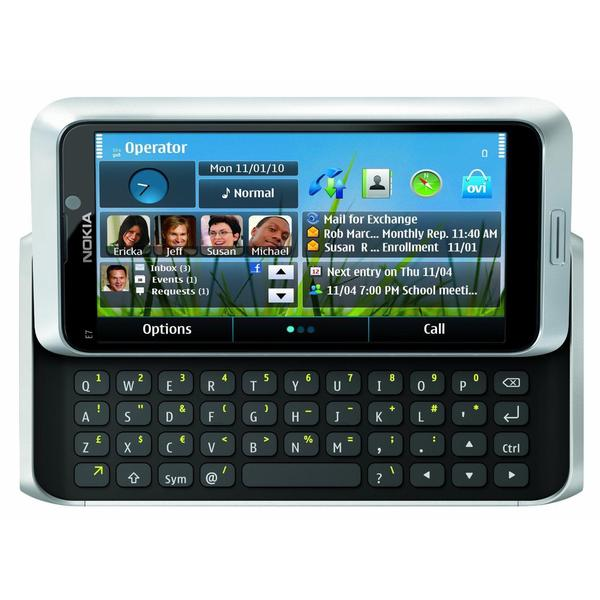 Nokia E7 E7-00 16GB Unlocked GSM Slide-Out Keyboard / Touch Cell Phone - Silver (Refurbished)