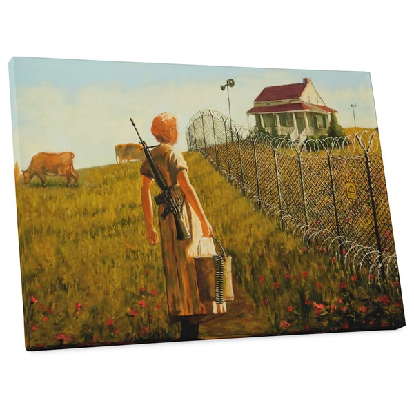"Banksy ""Little House on the Prairie"" Galley Wrapped Canvas Wall Art"