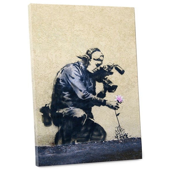 "Banksy ""Camera Man and a Flower"" Gallery Wrapped Canvas Wall Art"
