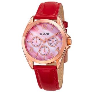 August Steiner Women's Quartz 24-Hour Indicator Multifunction Leather Red Strap Watch